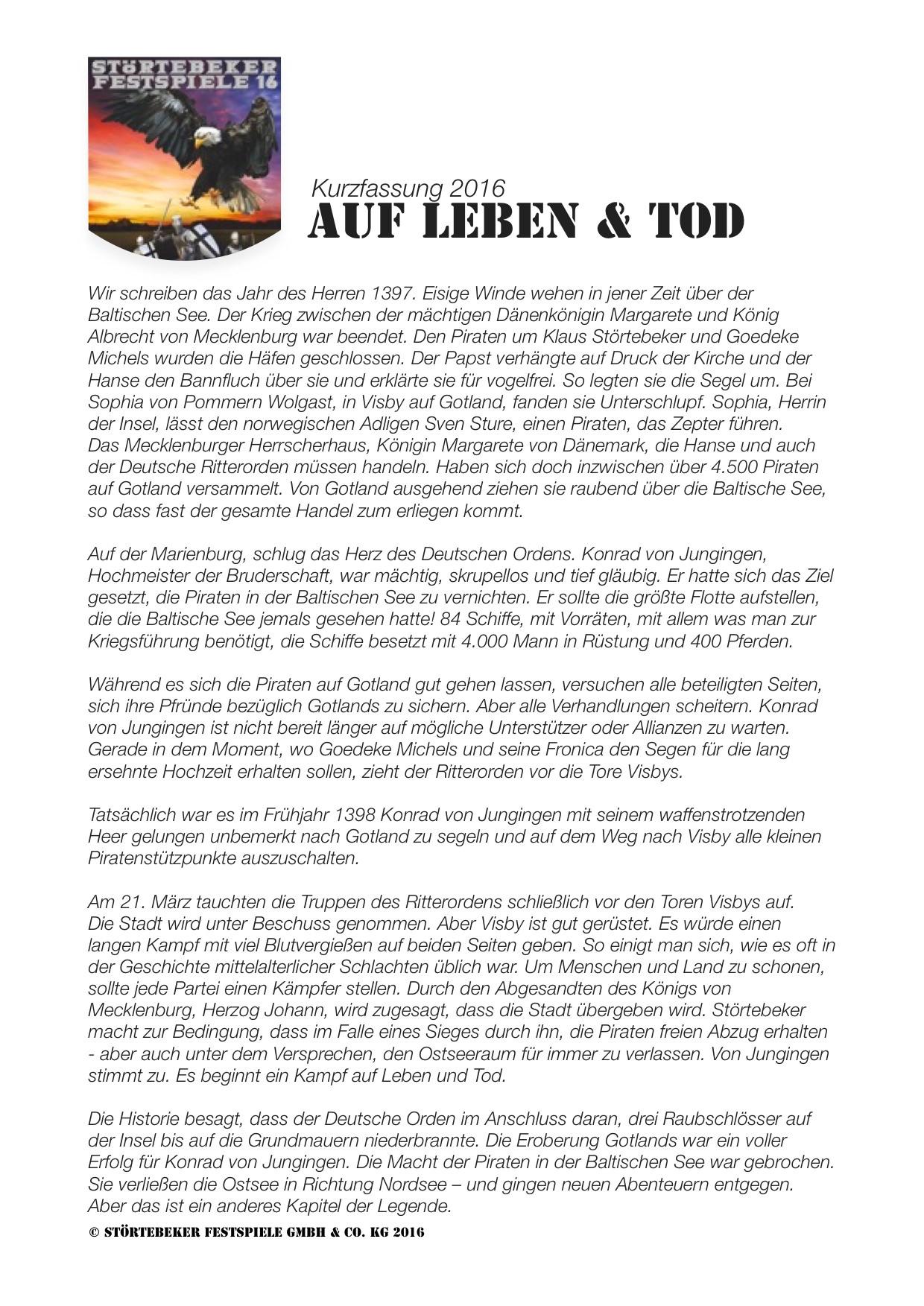 """Kurzfassung der Vorstellung """"Auf Leben & Tod"""" der Störtebeker Festspiele 2016 in Ralswiek"""