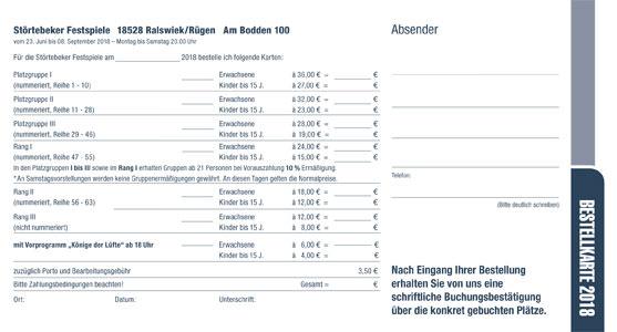 Bestellkarte der Störtebeker Festspiele 2018 auf der Insel Rügen