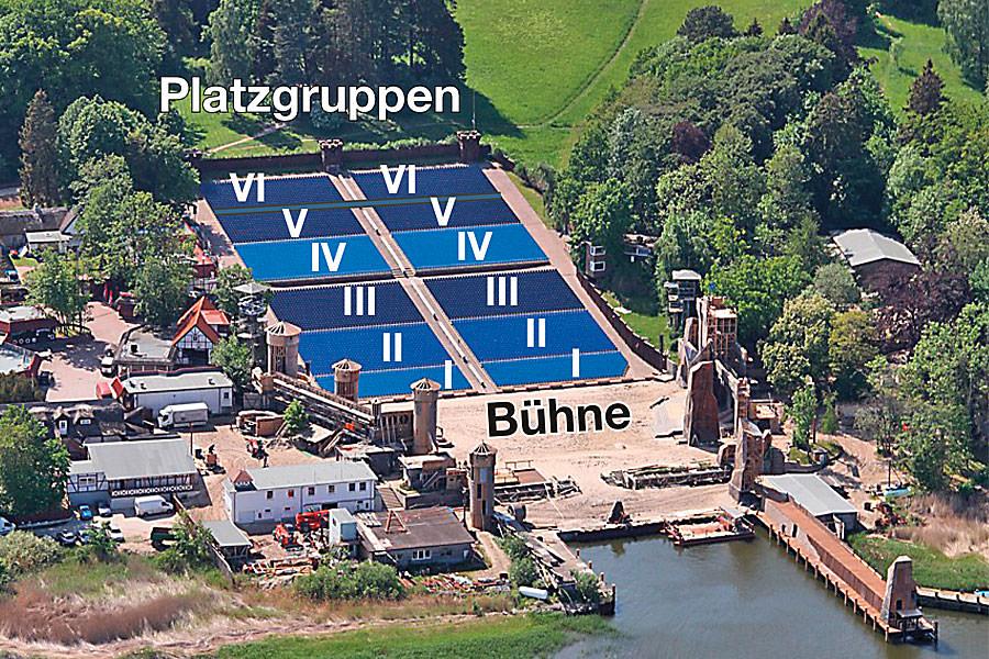 Luftaufnahme vom Gelände der Störtebeker Festspiele in Ralswiek