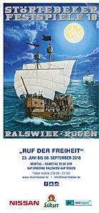 Flyer der Störtebeker Festspiele 2018 in Ralswiek auf Rügen – Ruf der Freiheit
